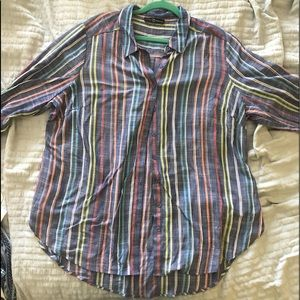 Fred and David 1X Striped Button-Up Rayon Top